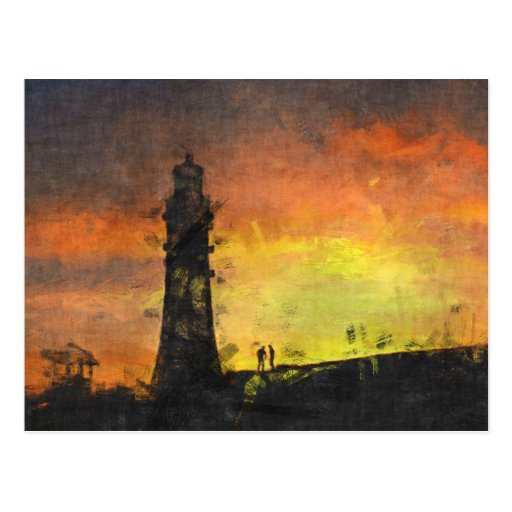 Smeaton's Tower at Sunset Postcards
