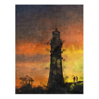 Smeaton's Tower at Sunset Postcard