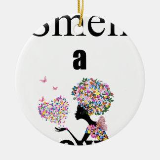 Smell a Flower Ceramic Ornament