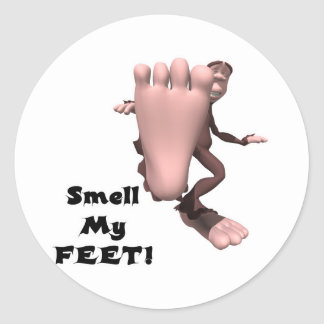 Smell My Feet Big Foot Monster Round Stickers