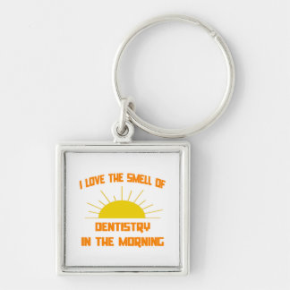 Smell of Dentistry in the Morning Silver-Colored Square Keychain