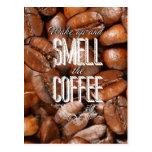 Smell the coffee tarjeta postal