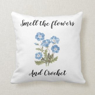 Smell the flowers and crochet pillow