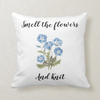 Smell the flowers and knit pillow