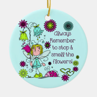 Smell the Flowers Double-Sided Ceramic Round Christmas Ornament