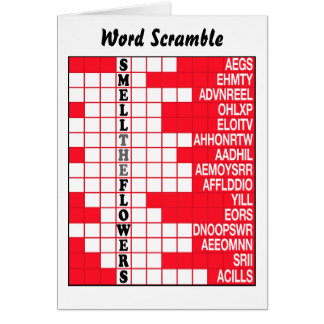 Smell the Flowers Word Scramble Card