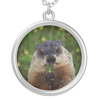 Smelling Spring Groundhog Silver Plated Necklace