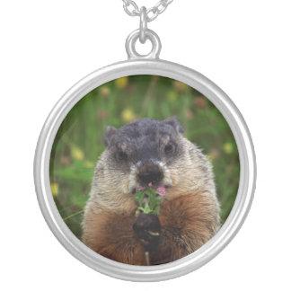 Smelling Spring Groundhog Silver Plated Necklace