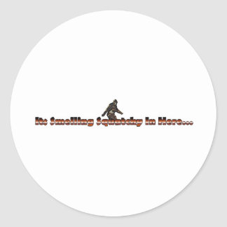 smelling squatchy classic round sticker