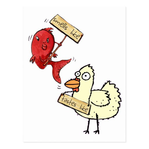 Smells like fish tastes like chicken post cards zazzle for I smell like fish