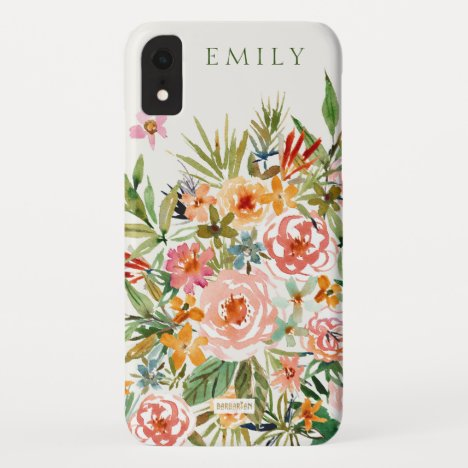 SMELLS LIKE LOVE IN ALL FORMS Floral Monogram iPhone XR Case