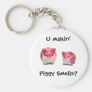 Smelly Pink Pigs Basic Round Button Keychain