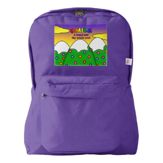 Smile A Brand New Day Awaits You Purple Backpack