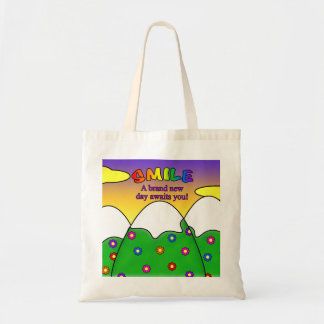 Smile A Brand New Day Awaits You Square Tote