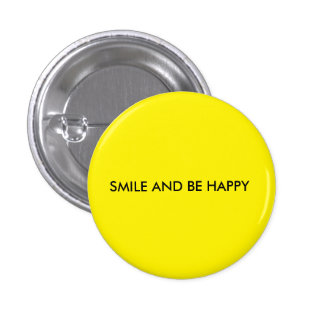Smile and be happy round yellow button