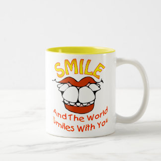 Smile and the World Smiles with You (v1A) Two-Tone Coffee Mug