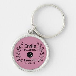 Smile, Attitude, Success, Goals, Motivational Pink Keychain