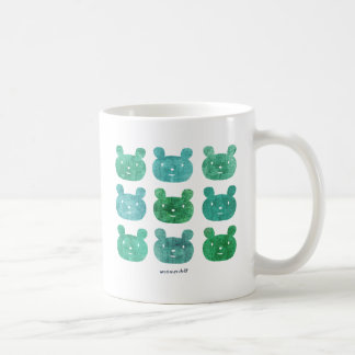 smile bear blue green coffee mug