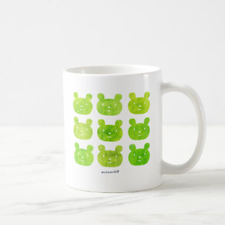 smile bear yellow green coffee mug
