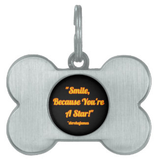 Smile, Because You're A Star! Bone-Shaped Pet Tag