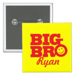 Smile Big Bro named button badge in red & yellow