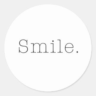 Smile. Black And White Smile Quote Template Classic Round Sticker