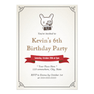 Smile! Camera Rabbit Hipster Birthday Invitations