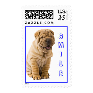 Smile Chinese Shar Pei Puppy Dog Postage Stamps
