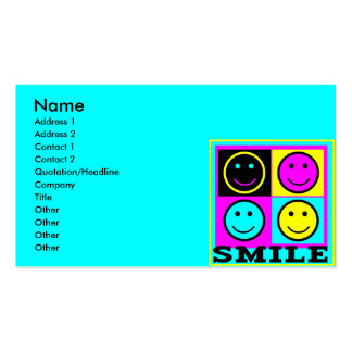 SMILE cute CMYK Smiley Faces Business Card