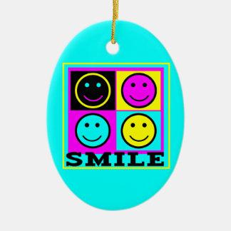 SMILE cute CMYK Smiley Faces Christmas Ornaments