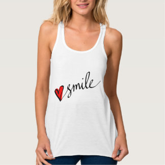 Smile Cute Red Heart Typography Script Tank Top