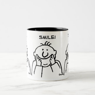 Smile! - Cute Smiling Man Illustration Two-Tone Coffee Mug