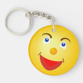 Smile Cute Yellow Face Double-Sided Round Acrylic Keychain