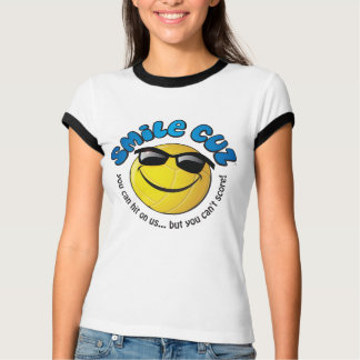 smile cuz  you can hit on us...  volleyball tee