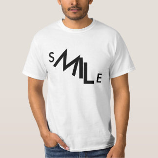 Smile descending typography design. Black on white Tee Shirt