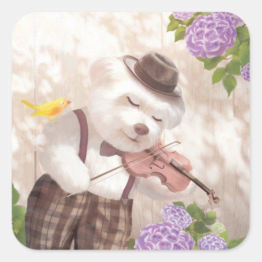 Smile Dog Playing Violin Square Sticker