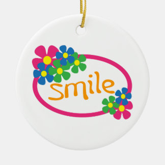 Smile Double-Sided Ceramic Round Christmas Ornament