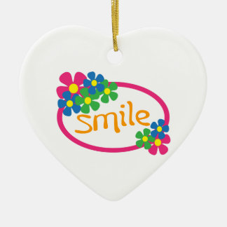 Smile Double-Sided Heart Ceramic Christmas Ornament