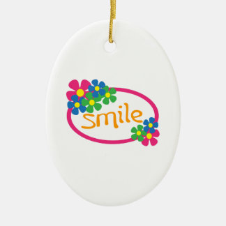 Smile Double-Sided Oval Ceramic Christmas Ornament