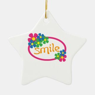 Smile Double-Sided Star Ceramic Christmas Ornament
