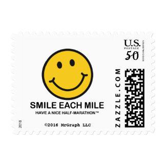 """Smile Each Mile / """"Half-Marathon"""" Postage Stamp"""