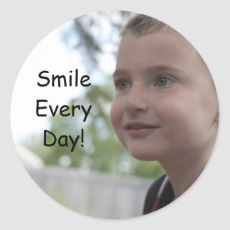 Smile Every Day! Classic Round Sticker
