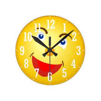Smile Face Round Clock