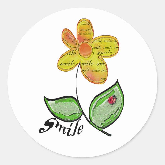 smile flower classic round sticker
