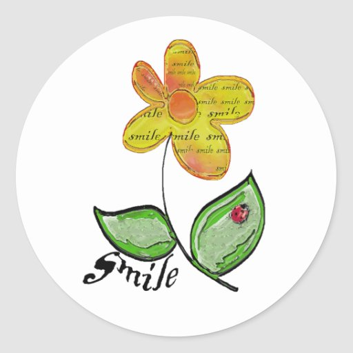 smile flower round stickers