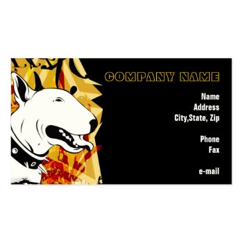 Smile for me! Yellow Bull Terrier Illustrated Business Card