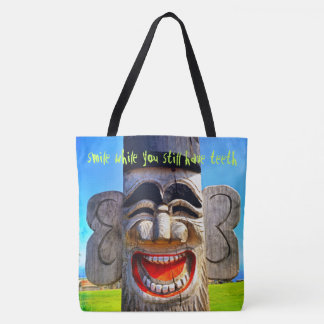 """""""Smile"""" funny, laughing wooden face photo tote bag"""