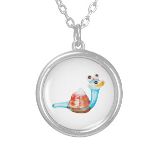 SMILE GLASS SNAIL SILVER PLATED NECKLACE