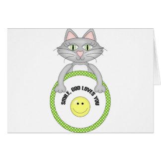 Smile God loves you cat Greeting Cards
