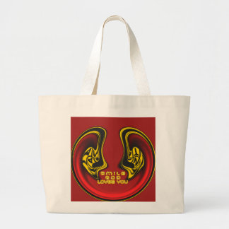 Smile God Loves You Customize Product Large Tote Bag
